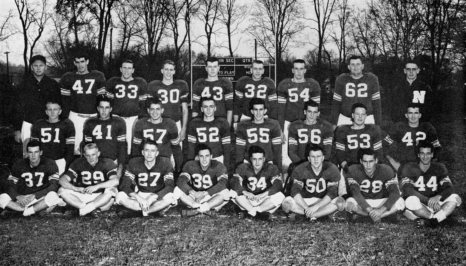 Football player in team photo