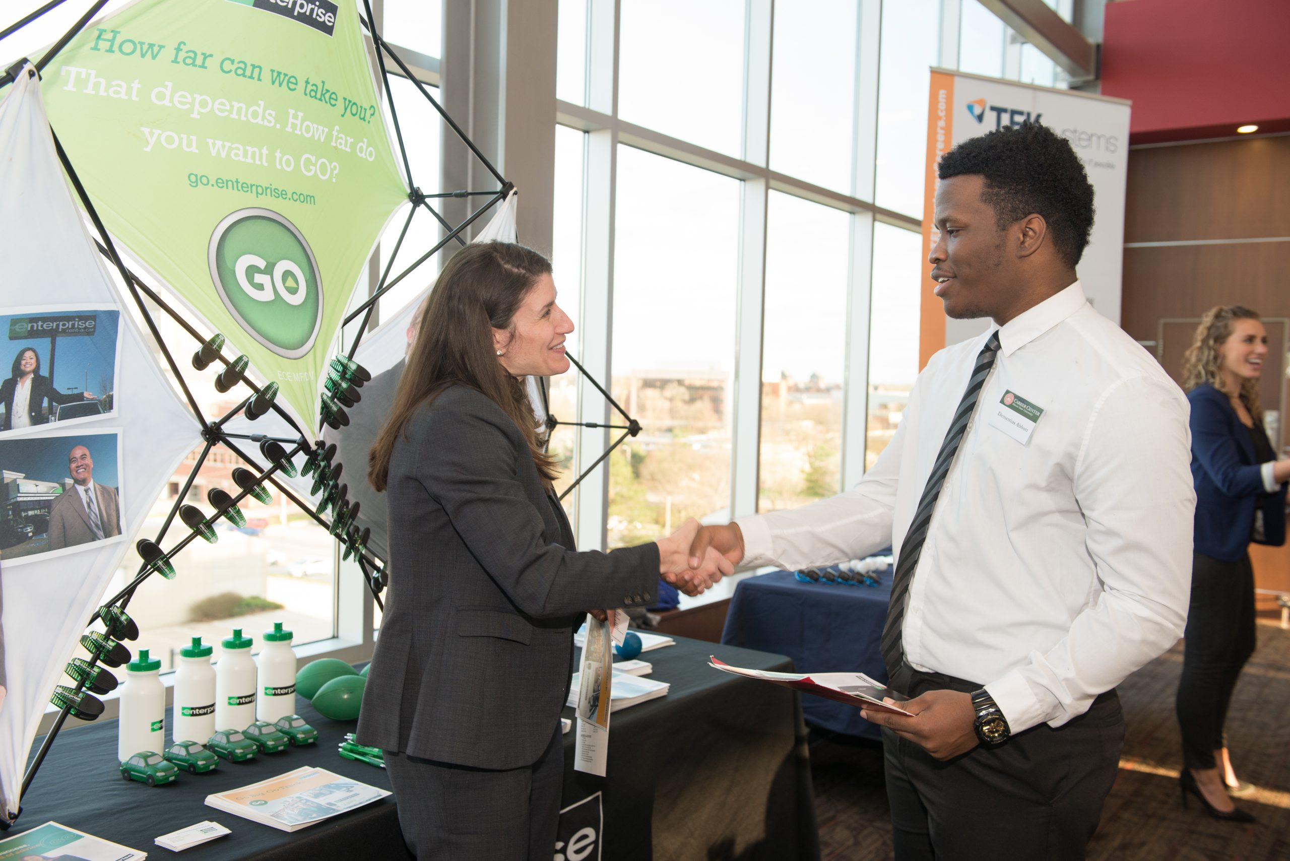 Student networking with potential employer at the 2019 Spring Career Fair