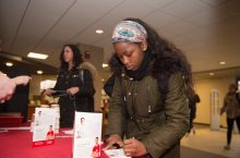 A student writing why she's grateful for Redbird donors during Redbird Philanthropy Week.