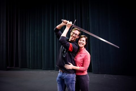 Man with sword and woman
