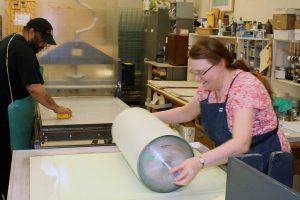 lithographic sponging and rolling