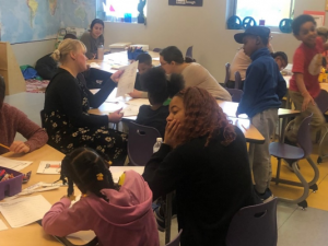 ISU student teachers help students.