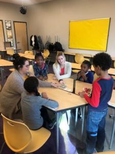 ISU student teachers play games with children.