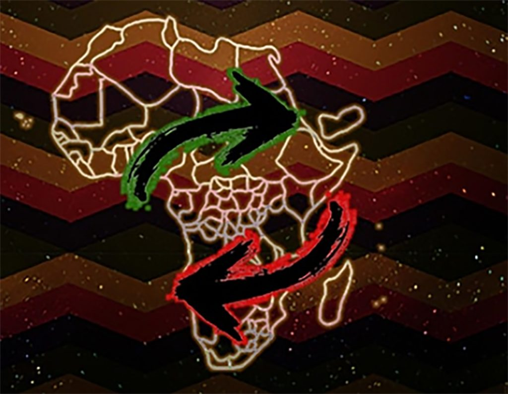Image of Africa with arrows to represent people's movement