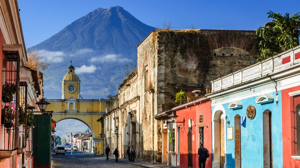 photo in Guatemala showing colonia city and mountain in the background