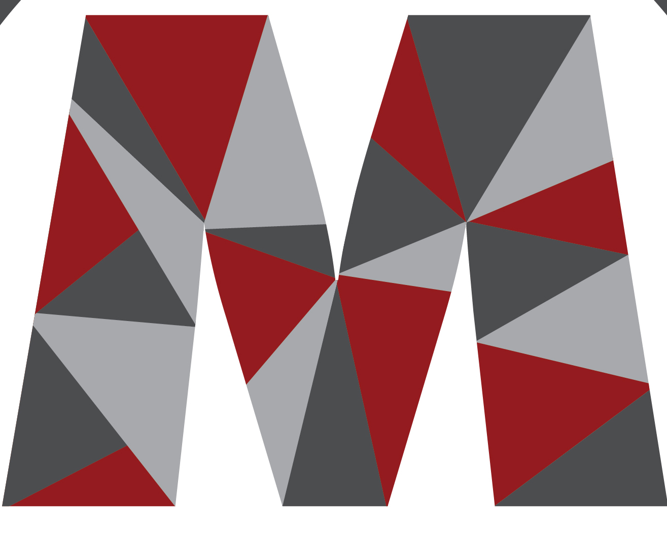 Letter M created with various patterns
