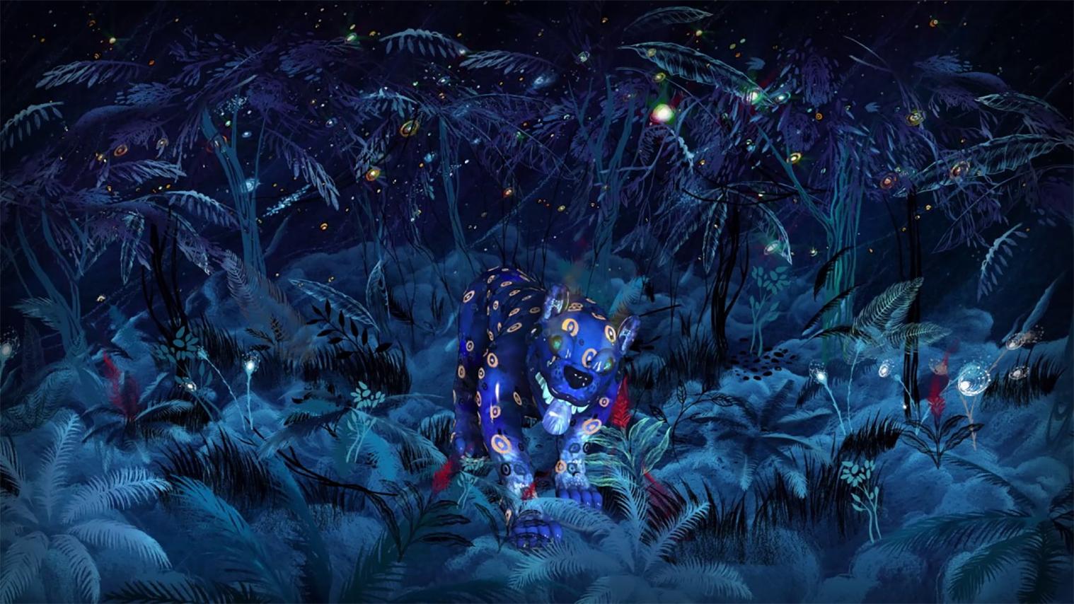 dark night with spiritual guide running
