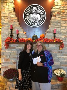 Director of Development Toni Burningham with Milner Library Interim Dean Dr. Shari Zeck after Zeck signed her gift commitment to establish the Doris Grube Zeck Library Outreach Restricted Fund.