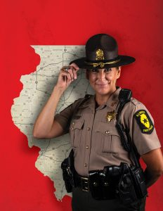 Trooper Tracy in front of Illinois map