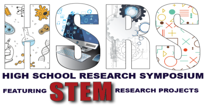 Images of STEM inside the HSRS High School Research Symposium featuring STEM research projects