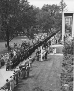 students attending commencement from 1940s