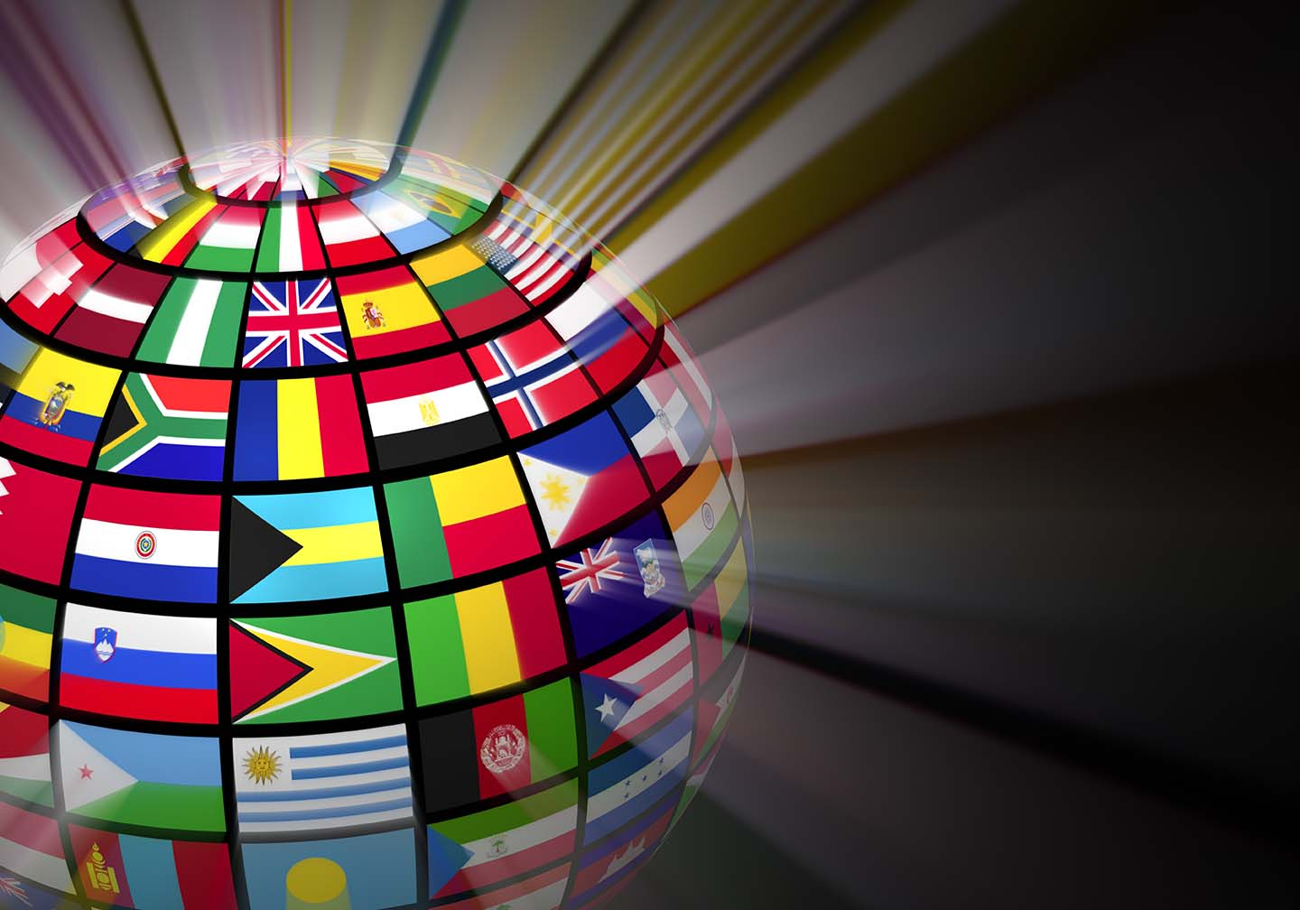glowing globe with world flags on black background