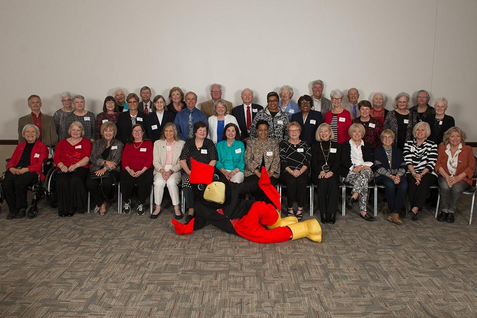 group of people with Reggie Redbird