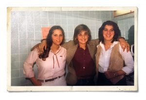 Alum Barb (Kalscheur) O'Malley '84, left, and friends on campus.