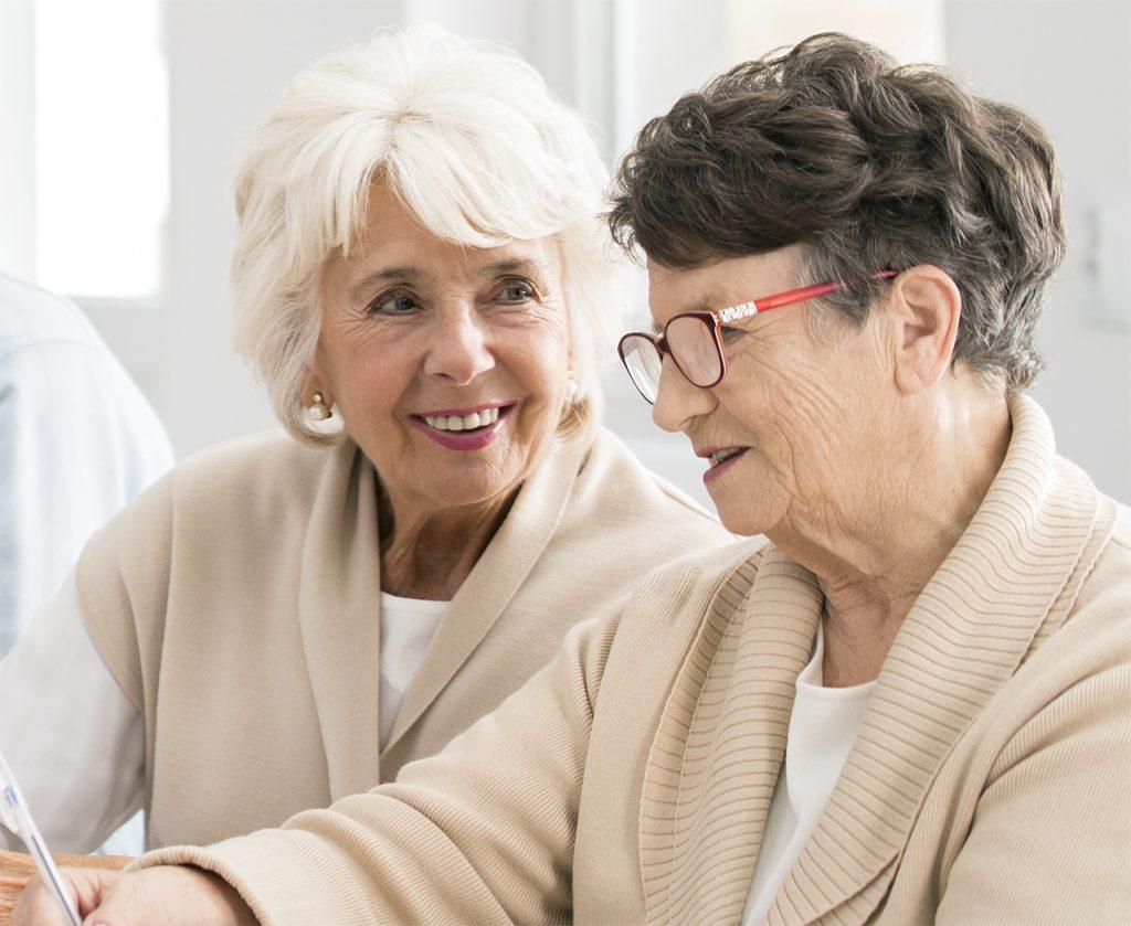 two older women talking