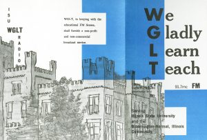 "Tri-fold pamphlet with outline of ISU building and acrostic WGLT call letters spelling out ""We Gladly Learn Teach."""