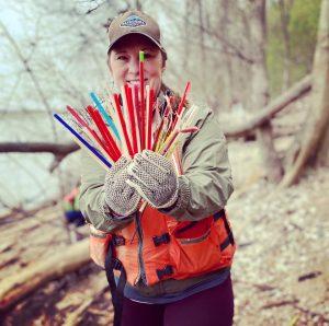 Woman holding straws
