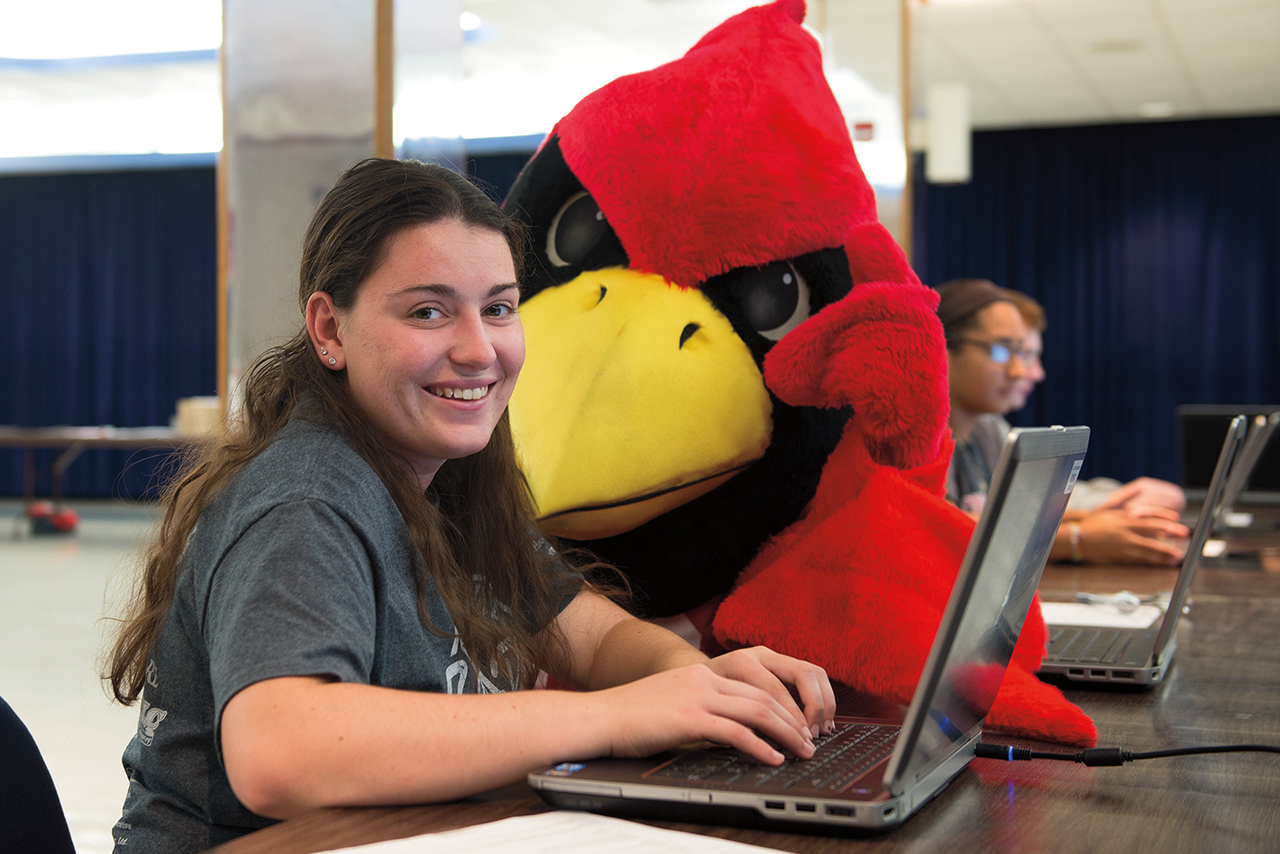 Student with mascot