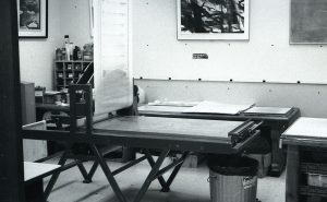a room with a lithography press