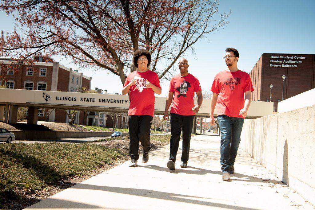 Men walking down campus