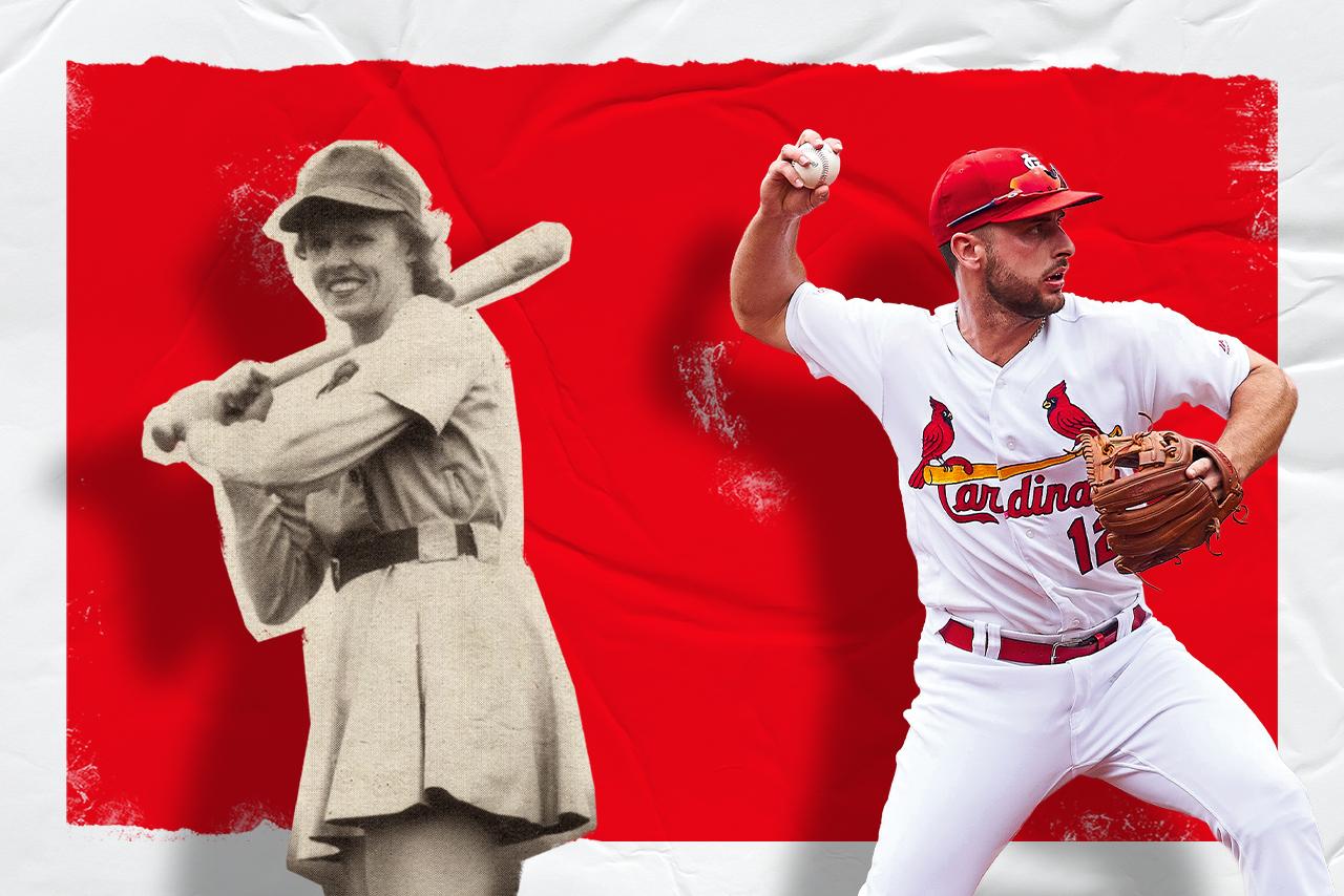 Female and male baseball players