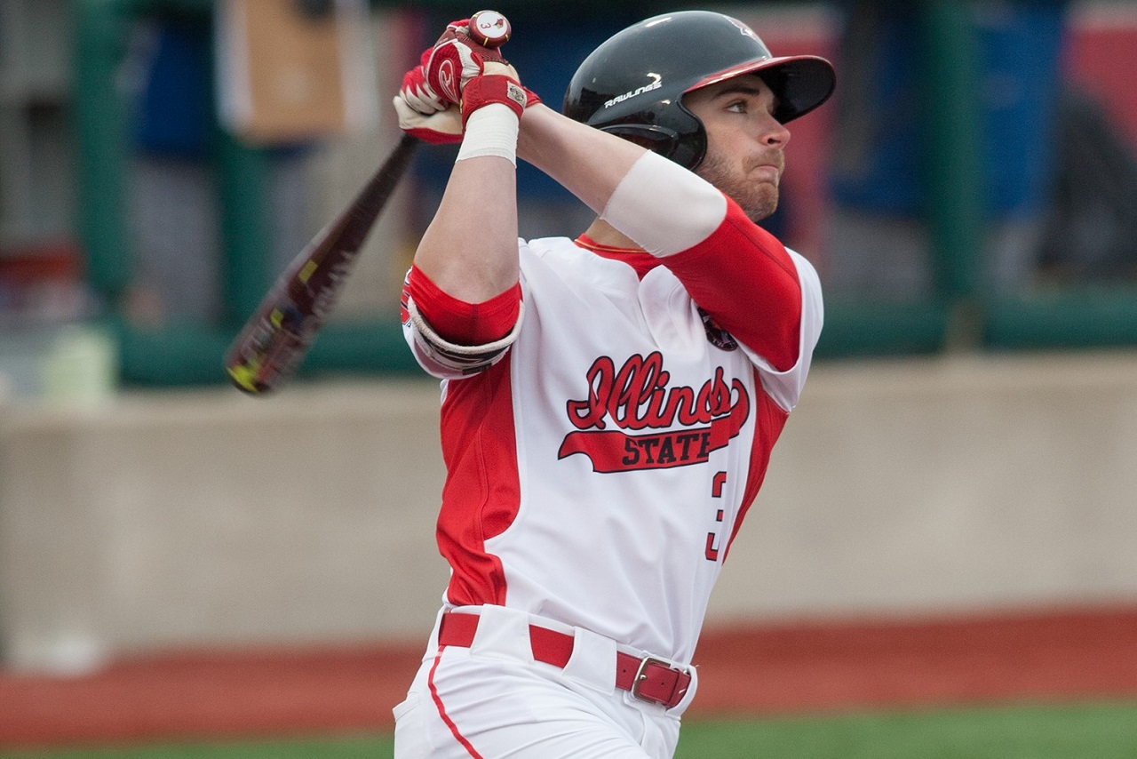 Player swinging bat
