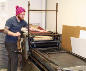 student letterpress printing