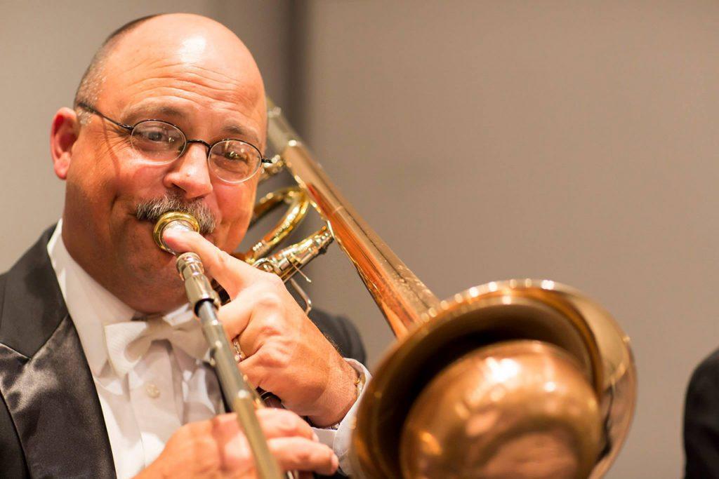 Stephen Parsons performing on trombone