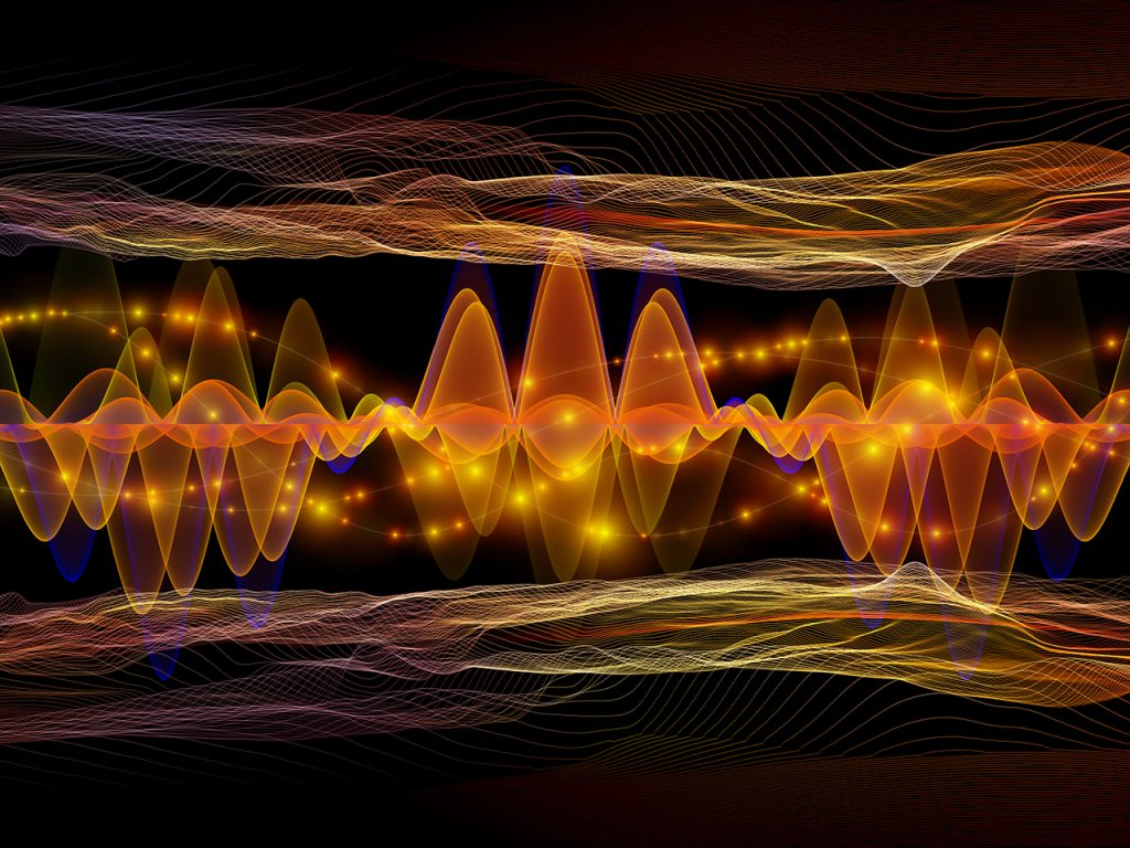 Digital Oscillation. Optical Flow series. Backdrop composed of color lines and lights isolated on black background for projects on technology, design and education