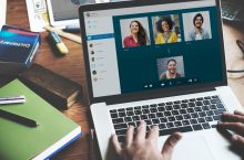 laptop with a virtual meeting
