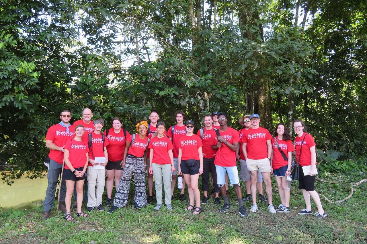 A group of students at a fair trade farm