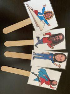 Flat teachers on a stick
