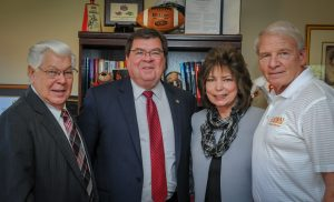 Foundation Director of Development Paul Segobiano, Illinois State University President Dr. Larry Dietz, internship supervisor Liz Skinner, and founder John Penn