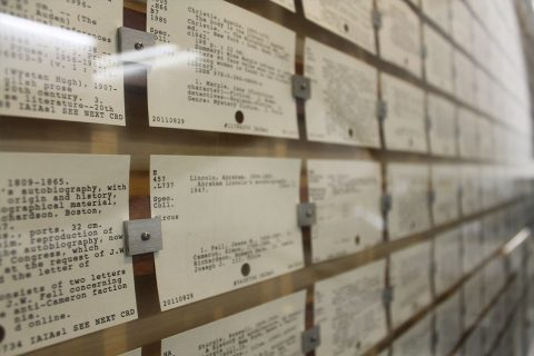 card catalog display