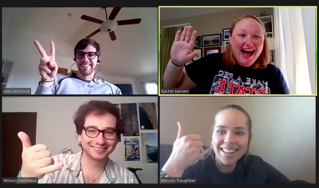 Participants in a virtual team building activity