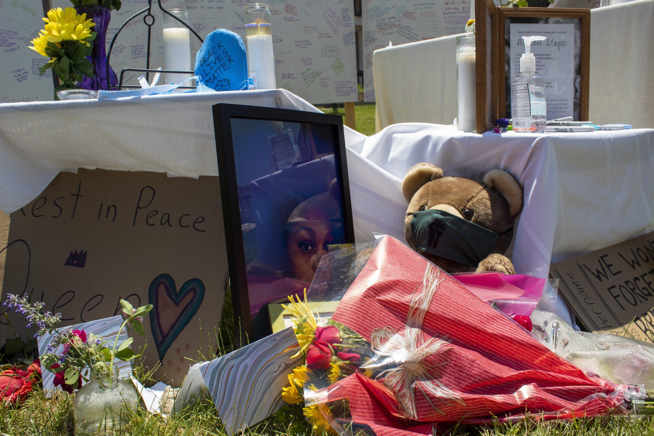 Memorial in downtown Bloomington