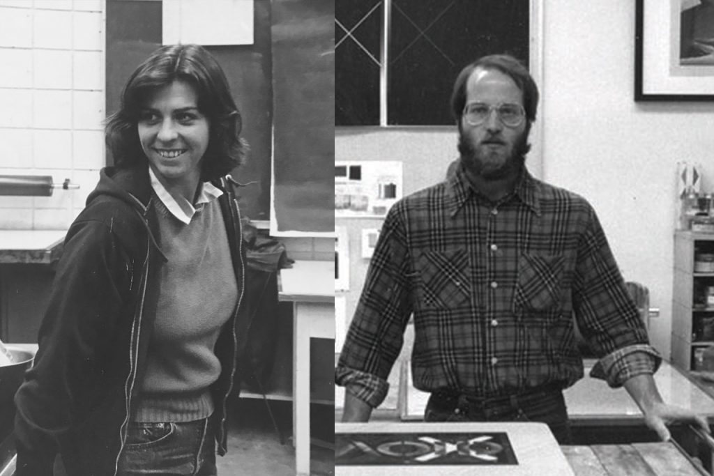Mary Jane Parker and Richard Finch at Normal Editions in 1980