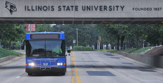 Connect Transit bus driving on campus.