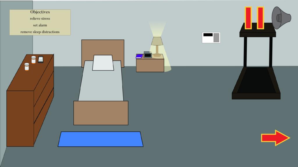 Video game scene of bedroom
