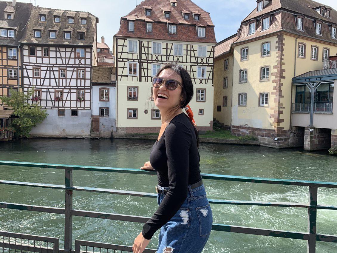 Study abroad student overlooks international waterway.