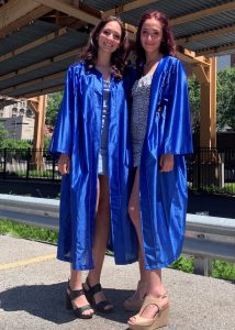 Julia and Sophie Baker following their commencement from Jones College Prep in downtown Chicago.