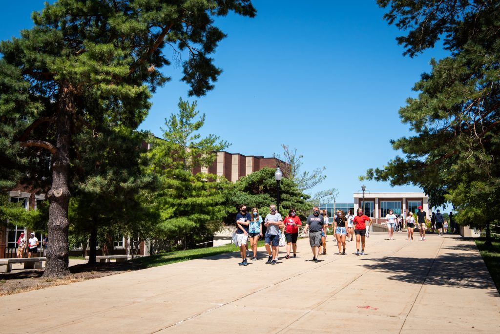 Illinois State students and their families on the Quad