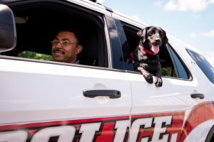 Sage in an ISUPD car