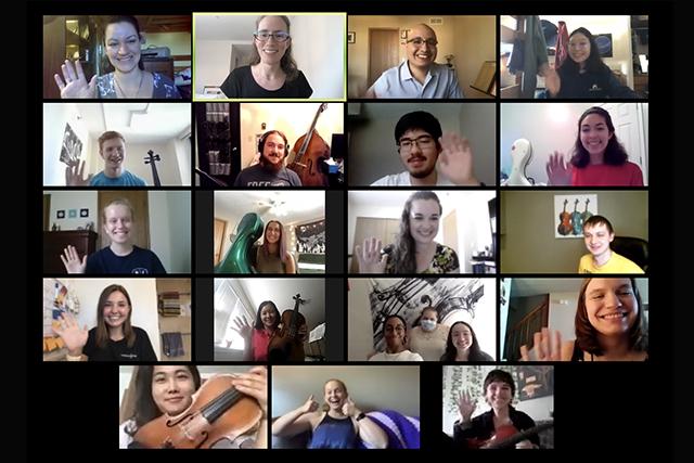Screen shot of String Project Teachers via Zoom
