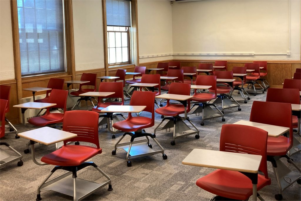 Empty seats in a classroom