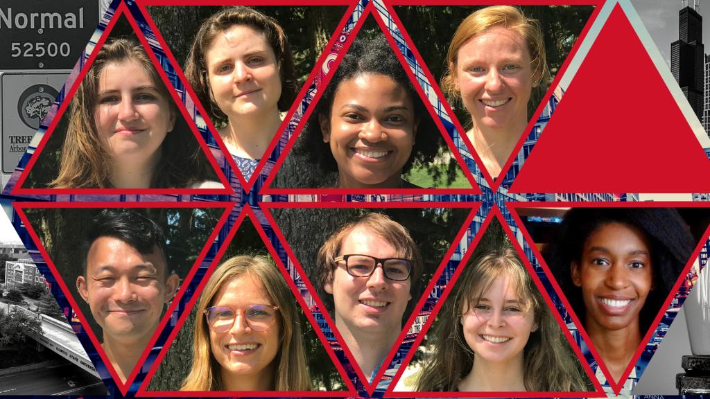 head shots of nine students
