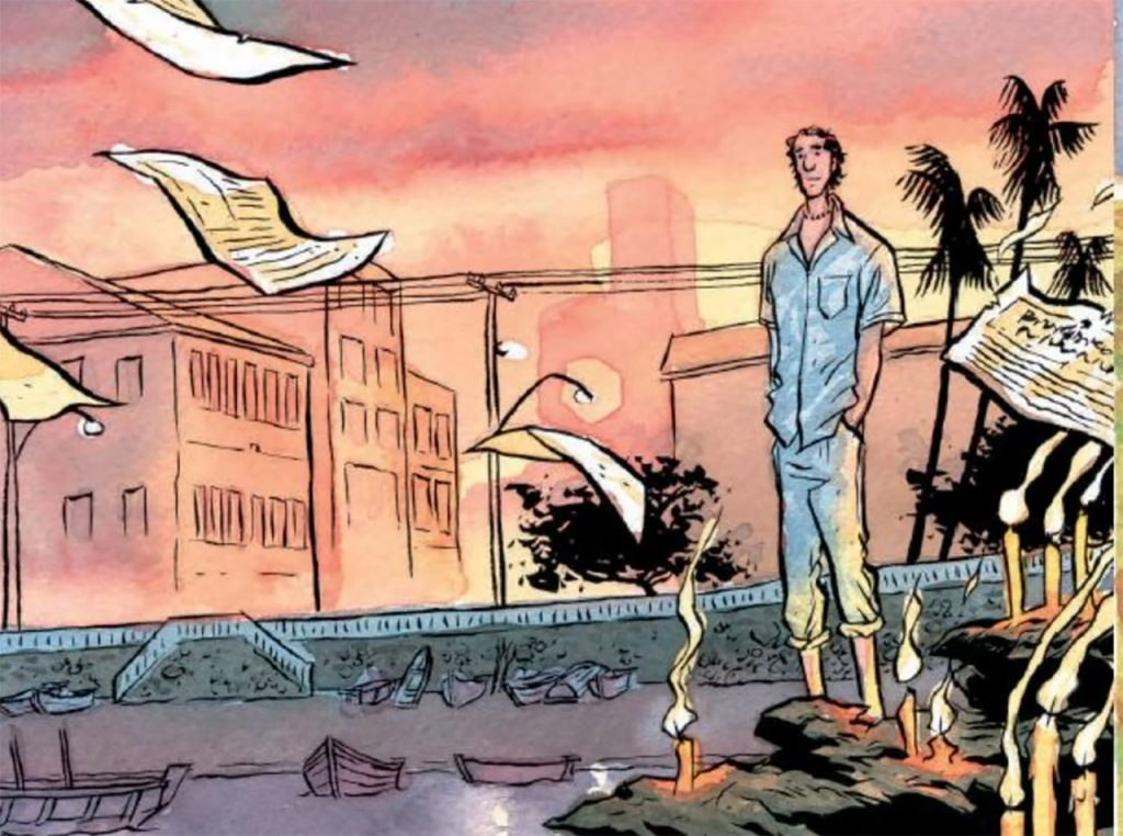 graphic novel panel with man standing amid newspapers flying