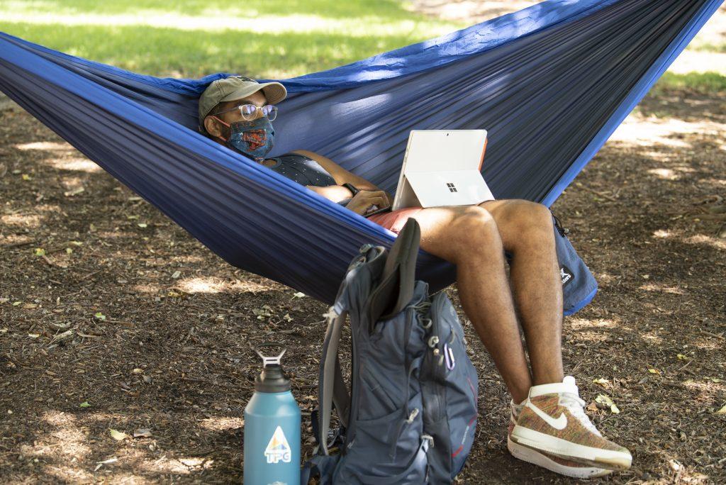 Person sitting in hammock