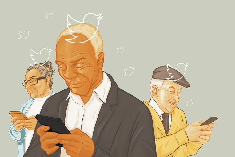 Elderly people hold smartphones and are meant to be tweeting on Twitter.