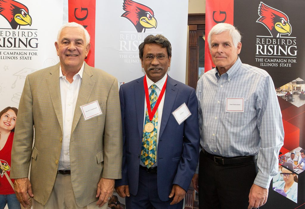 (Left to right) David Crumbaugh '73, donor of the Thomas E. Eimermann Professorship, Distinguished Professor Ali Riaz, and Professor Emeritus Thomas Eimermann at the inaugural Thomas E. Eimermann Professorship induction ceremony April 25, 2019.